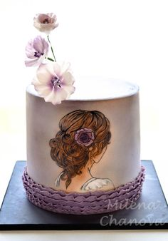 Hand Painted Bridal Shower Cake - Cake by MilenaChanova Gorgeous Cakes, Pretty Cakes, Amazing Cakes, Fondant Cupcakes, Cupcake Cakes, Cake Painting Tutorial, Airbrush Cake, Girly Cakes, Hand Painted Cakes