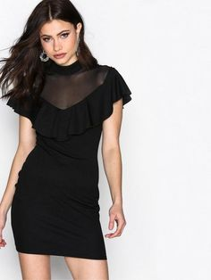 Mesh Contrast Frill Dress