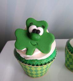 Shamrock cupcakes at a  St. Patrick's Day Party #stpatricks #partycupcakes