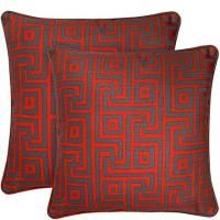 """18"""" x 18"""" Candy Red & Brown Maze angelo:HOME Pillow"""