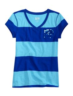 Striped V-neck Tee With Sequin Pocket | Short Sleeve | Tops & Tees | Shop Justice