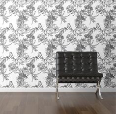 Sketch Floral Removable Wallpaper Wall Decal (I wonder if you can watercolor it…)