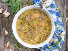 Instant Pot Chicken and Wild Rice Soup by ashley of myheartbeets.com