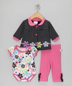 Black Polka Dot Flower Cardigan Set | Daily deals for moms, babies and kids