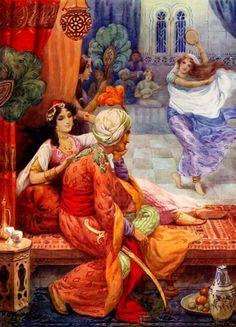 Harry G. Theaker illustrations for 'Arabian Nights' Night Illustration, Botanical Illustration, Renoir, Empire Ottoman, Arabic Art, Fairytale Art, Dance Art, Arabian Nights, Linocut Prints