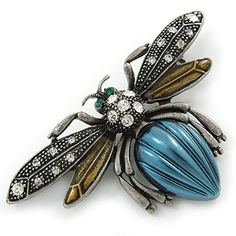 Avalaya Vintage Diamante Bee Brooch (Antique Silver Tone) - Across Bee Brooch, Brooch Pin, I Love Bees, Beautiful Bugs, Insect Jewelry, Beaded Animals, Jewelry Stores, Antique Silver, Jewelery