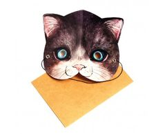 Mask Card - Cat ... this would be a cute card