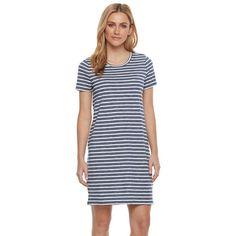 Women's' SONOMA Goods for Life™ Crewneck T-Shirt Dress ($25) ❤ liked on Polyvore featuring dresses, blue, blue jersey, short sleeve t-shirt dress, short-sleeve dresses, short sleeve t shirt dress and short sleeve tee shirt dress