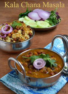 Punjabi Kala Chana Masala | Chole Recipe  Black chickpeas (kala chana) cooked in onion and tomato gravy with Indian spices to make this delicious and popular chana masala.