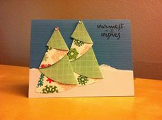 Folded Christmas Trees - Christmas Card #DIY