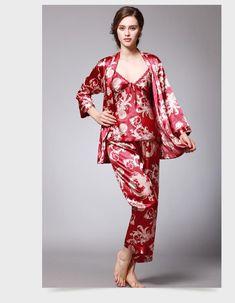 4d310edb0c9 Womens Silk Satin Pajamas Pyjamas Set Sleepwear Loungewear Plus Size  three-piece suit M L XL