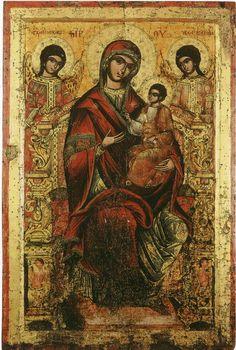 Богоматерь с Младенцем на престоле (Одигитрия) с двумя ангелами в качестве…