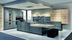 Die Küchentrend-Farbe 2018 ist grau – kein Wunder, denn die Farbe kann auf vi… The kitchen trend color 2018 is gray – no wonder, because the color can be combined in many styles and with many other colors. Home Decor Kitchen, Kitchen Living, Kitchen Furniture, Home Kitchens, Kitchen Ideas, Modern Kitchen Cabinets, Kitchen Cabinet Design, Interior Design Living Room, Kitchen Island