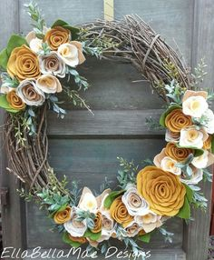 Yellow and sage green wreath Felt Flowers, Diy Flowers, Fabric Flowers, Paper Flowers, Paper Flower Wreaths, Flower Crafts, Floral Wreath, Felt Wreath, Diy Wreath