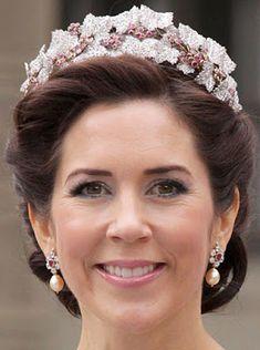 Tiara Mania: Queen Desiree of Sweden's Ruby Parure Tiara worn by Crown Princess Mary of Denmark