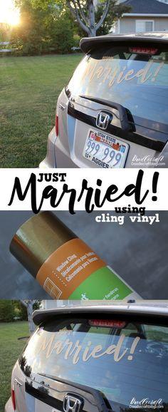 Doodlecraft: Cricut Explore Air Just Married Cling Vinyl Window Cling Vinyl, Window Clings, Cricut Explore Air, Cricut Air, Cricut Vinyl, Circuit Projects, Vinyl Projects, Just Married Sign, Cricut Wedding