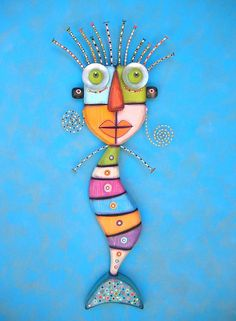 A Mermaid Discovered, MADE to ORDER, Original Found Object Wall Sculpture, Wood Carving, Figure Sculpture, Wall Decor, by Fig Jam Studio