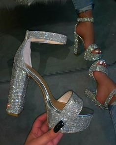 Ankle Strap Line-Style Buckle Open Toe Chunky Heel Sequin Sandals Fancy Shoes, Pretty Shoes, Me Too Shoes, Bling Shoes, Formal Shoes, Crazy Shoes, Fashion Heels, Sneakers Fashion, Shoes Sneakers