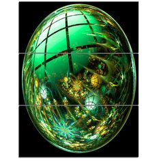DesignArt Bright Green Fractal Sphere - 3 Piece Wall Art on Wrapped Canvas Set