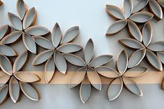 Cardboard flowers from toilet paper tubes