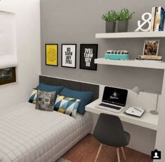 15 Lovely Small Bedroom Ideas that Boost Your Freedom sovrum 15 Lovely Small Bedroom Ideas that Boost Your Freedom - Home Decor Design ideas for small rooms for boys creative Room Ideas Bedroom, Small Room Bedroom, Small Rooms, Modern Bedroom, Diy Bedroom, Dream Bedroom, Trendy Bedroom, Bedroom Decor For Boys, Long Bedroom Ideas
