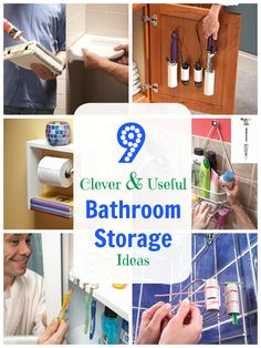 His and Hers Shower Shelves - If you need more than shampoo and a bar of soap in the shower, here's how to provide space for all your vital beauty potions: Get a couple of those shelves that are designed to hang from a shower arm and hang them on cabinet knobs. Use No. 8-32 hanger screws (