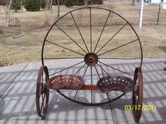 Antique Wagon Wheel & Tractor Seat Garden Bench!