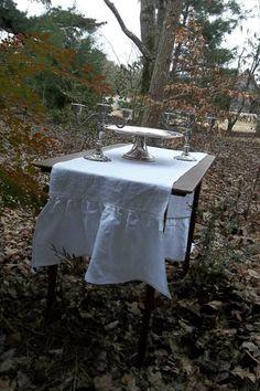 Linen Runner READY to SHIP Ruffled Linen Table by misshettie, $40.00