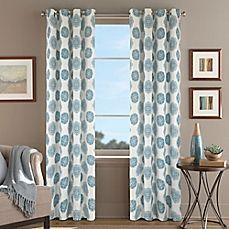 image of Orion Morocco Grommet Top Window Curtain Panel in Aqua