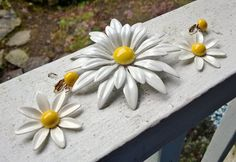 Vintage White Enamel Daisy Flower Brooch Pin and by AdornoVintage