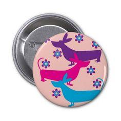 Botão floral do cão de cão do basset do divertimen