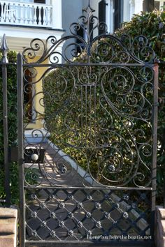 We were invited to Charleston, SC for a weekend of food & fun with friends a couple of weekends ago. I took a lot of photos so I broke them up into two parts of my stroll through Charleston, en… Wrought Iron Gate Designs, Wrought Iron Stairs, Garden Doors, Garden Gates, Front Entry Decor, Outdoor Pavilion, Grill Design, Entrance Gates, Iron Decor