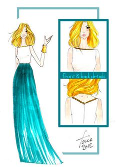Green Wave by The Fashion Tower www.maisonacademia.com | Fashion Sketches Maison Academia