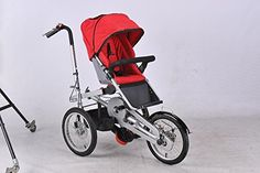 3 Wheels 16Inch Pushchair 16inch Folding Mother Baby Stroller Bike Carrier Carrinho Pushchair-Bicycle Baby Strollers 3 in 1 (RED)