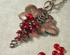 Amazing copper pendant Red berries - Handmade copper pendant with Czekh beads - Red Currant pendant