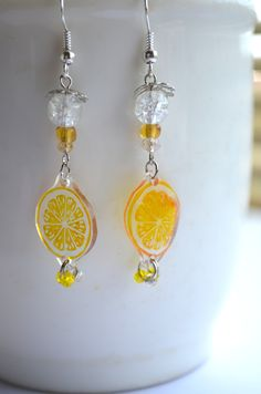 sliced lemon earrings スライスレモンピアス  by NanaAkua