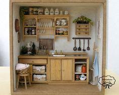 Casa de muñecas RoomBox cocina totalmente equipada, sistema de escala 1:12