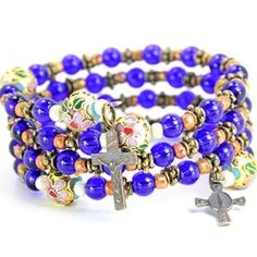 Cobalt & Cloisonne Bead Rosary Wrap Bracelet | The Catholic Company $64.95