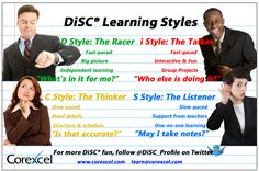 #DiSC #learning styles #infographic. How the D style, i style, S style and C style prefer to learn. By @Corexcel