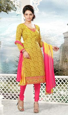 Intrigue your on lookers by augmenting your beauty dressed in this yellow color embroidered cotton churidar suit. This stunning attire is displaying some superb embroidery done with lace and resham work.  #LatestYellowAndPinkStraightCutDress