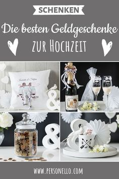 Money gifts for the wedding: ♥ Our pillow, which is personalized with the name and the wedding date of the bride and groom in combination with rolled up bank notes as a bridal car decoration. Wedding Presents For Newlyweds, Best Wedding Gifts, Wedding Favors, Diy Wedding, Bridal Car, Cookie Gifts, Diy Presents, The Wedding Date, Sparkling Wine