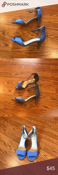 Brand New H&M Pastel Blue Heels Brand New Never Worn. 3 inch heels. Blue Faux Suede and silver clasp. Perfect for spring! Euro 38. Fits 7-7 1/2 H&M Shoes Sandals