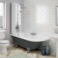 SHOP the Appleby Grey 1700 Roll Top Shower Bath with Screen + Chrome Leg Set at Victorian Plumbing UK marblebathroomfloor Marble Bathroom Floor, Bathroom Niche, Steam Showers Bathroom, Family Bathroom, Shower Tub, Bathroom Faucets, Modern Bathroom, Small Bathroom, Master Bathroom