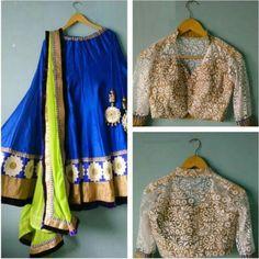 Arisha Blue & Green Silk Partywear Lehenga