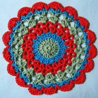 Crochet Mandala Wheel made by  Pauline, West Wales, UK for  yarndale.co.uk