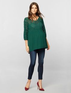 A Pea in the Pod 3/4 Sleeve Babydoll Maternity Tunic