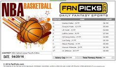 NBA Optimal Lineup - 04/20/2016. Join FP: http://wlfanpicks.adsrv.eacdn.com/C.ashx?btag=a_217b_169c_&affid=99&siteid=217&adid=169&c=