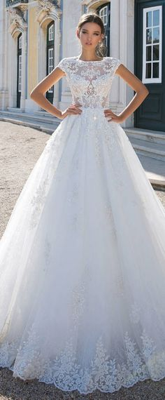 Graceful Tulle Jewel Neckline See-through Bodice A-Line Wedding Dress With Lace Appliques & Beadings