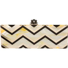 Pre-owned Edie Parker Flavia Chevron Clutch (840 AUD) ❤ liked on Polyvore featuring bags, handbags, clutches, yellow, edie parker clutches, yellow hand bags, pre owned handbags, chevron handbags and yellow clutches