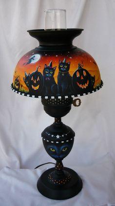OOAK Original HP Halloween Witch Black Cat Bat Cauldron Vintage Metal Lamp | eBay sold 179.00